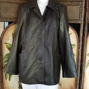 Style & Co Leather coat w/iridescent green